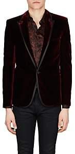 Saint Laurent Men's Velvet One-Button Tuxedo Jacket-Red