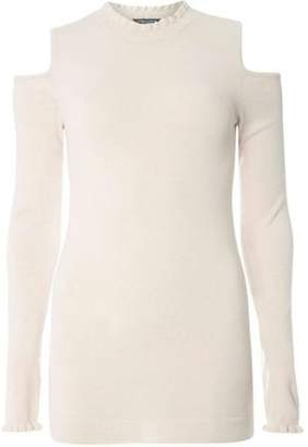 Dorothy Perkins Womens **Tall Blush Cold Shoulder Ruffle Detail Jumper