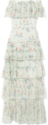 Vilshenko Julianne Off-the-shoulder Printed Crinkled Silk-chiffon Maxi Dress - Mint