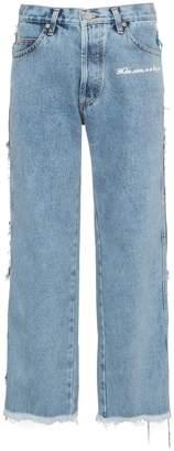 Natasha Zinko Mid-Rise Straight-Leg Frayed Jeans