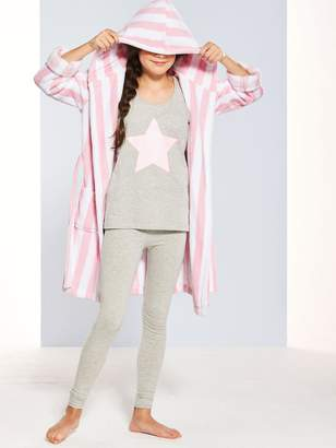Very Girls Short Stripe Dressing Gown