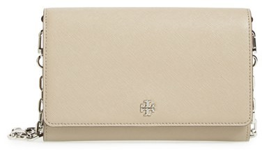 Women's Tory Burch 'Robinson' Leather Wallet On A Chain - Grey