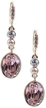 Givenchy Glass Pearl & Crystal Stone Linear Drop Earrings