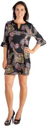 24seven Comfort Apparel Paisley Print 3/4 Length Sleeve Tunic Mini Dress