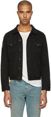 Saint Laurent Black Denim Patch Jacket $1,190 thestylecure.com
