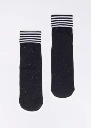 WildFang Richer Poorer Fold Stripe Ankle Sock | Fold Stripe Ankle Sock - BLACK - OS