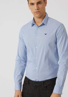 Emporio Armani Slim-Fit Micro Stripe And Polka Dot Shirt With Embroidered Logo