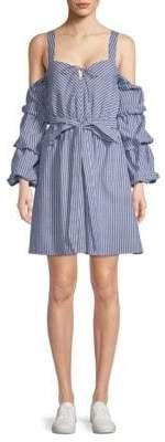 Alexia Admor Striped Cold-Shoulder Dress