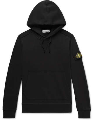 Stone Island Logo-Appliqued Loopback Cotton-Jersey Hoodie
