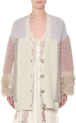 Stella McCartney V-Neck Button-Front Mixed-Media Cardigan