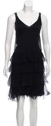 Alberta Ferretti Silk Ruffle Knee-Length Dress