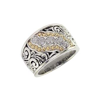 Effy Sterling Silver 18K Yellow Gold And Diamond Ring