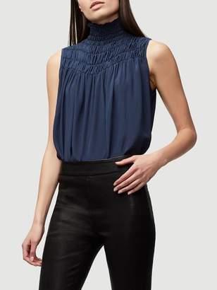 Frame Denim Smocked Sleeveless Silk Blouse Summer Navy