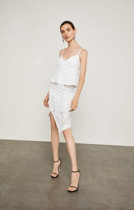 BCBGMAXAZRIA Asymmetrical Lace Pencil Skirt