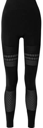 adidas by Stella McCartney Warp Knit Laser-cut Stretch Leggings - Black
