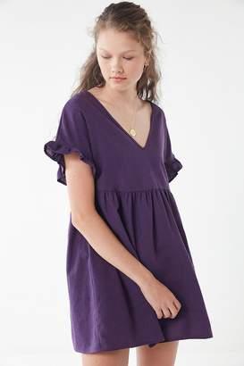 Urban Renewal Vintage Remnants Linen Ruffle Sleeve Mini Dress