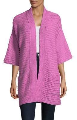 Context Ribbed Open-Front Cardigan