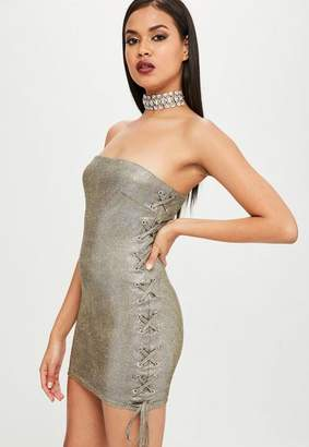 Missguided Carli Bybel x Gold Metallic Bandeau Dress
