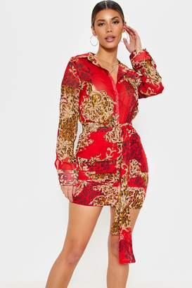 Next Womens PrettyLittleThing Animal Print Shirt Dress