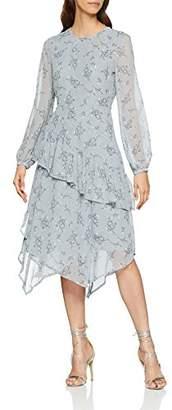 Warehouse Women's Anais Floral Ruffle Midi Party Dress, (Light Blue 30), (Size:)