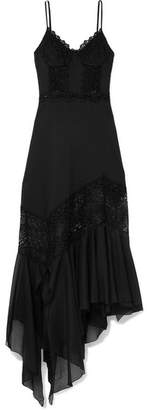 Charo Ruiz - Briana Crocheted Lace And Cotton-blend Voile Maxi Dress - Black