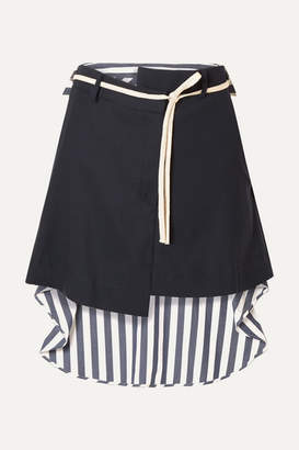 Monse Wool-blend Drill And Striped Voile Mini Skirt - Navy
