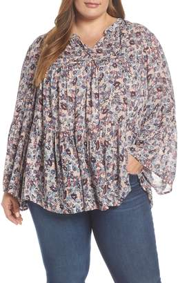 Lucky Brand Ditsy Floral Print Top