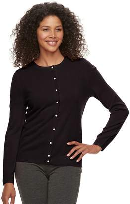 Croft & Barrow Women's Essential Simulated-Pearl Button Cardigan