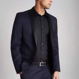 River Island Navy and black stretch skinny tuxedo jacket