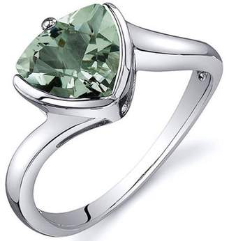 Oravo 1.50 Carat T.G.W. Green Amethyst Rhodium-Plated Sterling Silver Engagement Ring