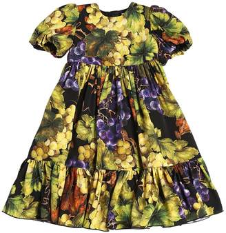 Dolce & Gabbana Grapes Print Silk Charmeuse Party Dress