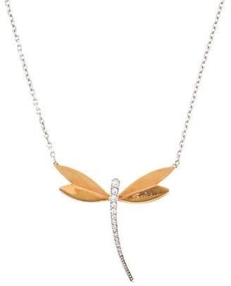 18K Diamond Dragonfly Pendant Necklace