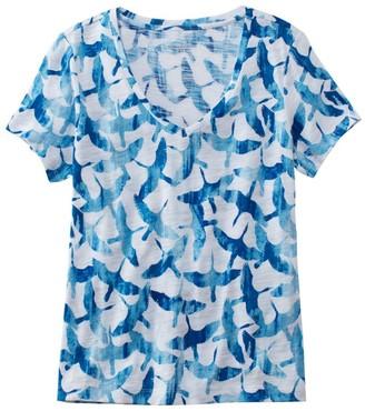 L.L. Bean L.L.Bean Women's Signature Essential Knit V-Neck Tee, Short-Sleeve Print