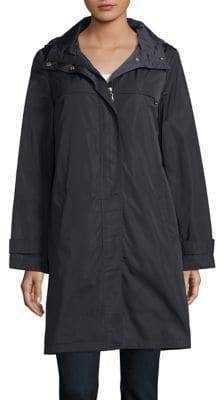 Ellen Tracy Zip-Front Hooded Raincoat