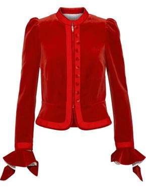 Sonia Rykiel Ruffle-Trimmed Cotton-Velvet Blazer