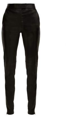 Joseph Reeve Mid Rise Stretch Leather Trousers - Womens - Black