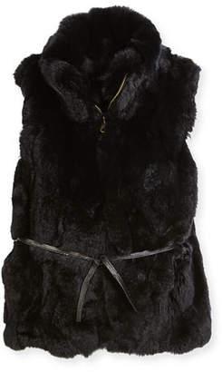 Adrienne Landau Girls' Rabbit Fur Vest, Size 2-12
