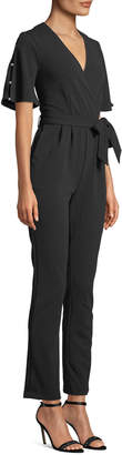 Neiman Marcus Pearly Wide-Leg Scuba Crepe Jumpsuit