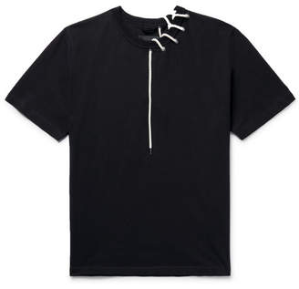 Craig Green Lace-Detailed Melange Bonded-Jersey T-Shirt - Black