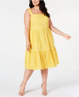 Vince Camuto Trendy Plus Size Cotton Eyelet A-Line Dress