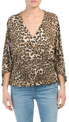 Leopard Print Smocked Banded Bottom Wrap Kimono Top
