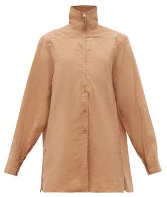 Lemaire High Neck Zip Silk Blend Shirt - Womens - Tan