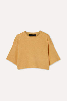 Sally LaPointe Cropped Cashmere And Silk-blend Sweater - Yellow