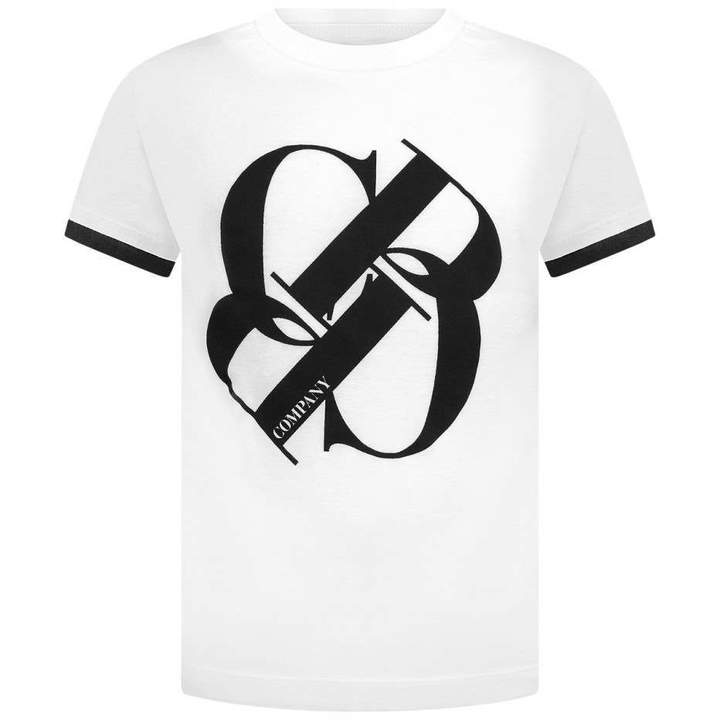 C.P. CompanyBoys Ivory & Black Logo Top