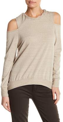 Poof Twisted Neck Cold Shoulder Sweater