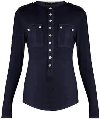Balmain Button-down long-sleeved jersey top