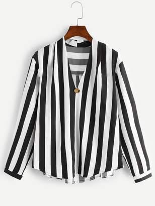 Shein Plus V-Neck Striped Blouse