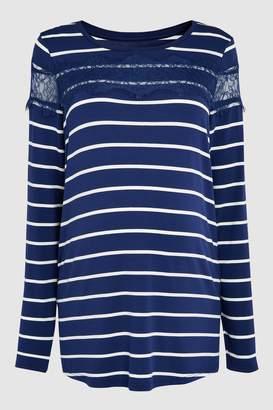 Next Womens Navy/White Maternity Long Sleeve Stripe Tee