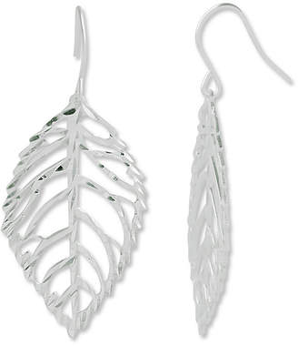 JCPenney FINE JEWELRY Sterling Silver Diamond-Cut Open Leaf Earrings