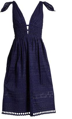 SELF-PORTRAIT Deep V-neck broderie-anglaise dress $545 thestylecure.com